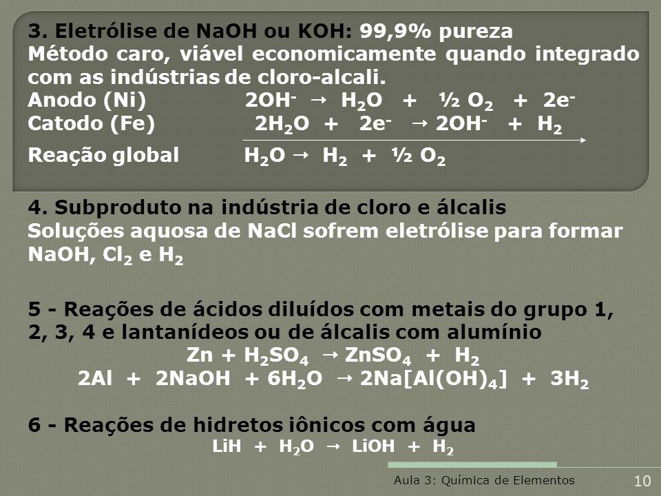 2Al + 2NaOH + 6H2O  2Na[Al(OH)4] + 3H2